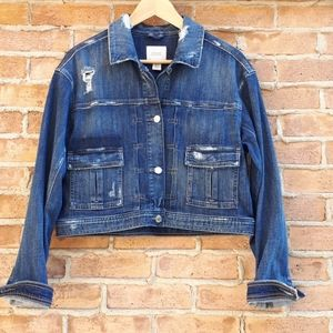 Guess Boxi Cropped Distressed Jean Jacket
